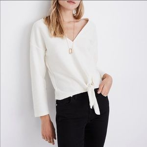 Madewell Texture & Thread Front Tie V Neck Top